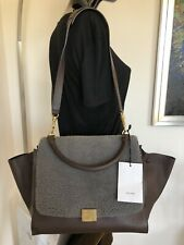 100% Original Celine Paris Trapeze Medium Nappa Leder Tasche dunkelbraun TOP