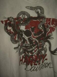 Harley-Davidson Skull & Snake Print V-Neck S/S T-Shirt ST#96012-15VM Size Medium
