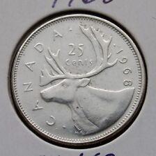 CANADA - 25 CENTS 1968 - ELIZABETH II - .500 SILVER - CIRC. - (C809)
