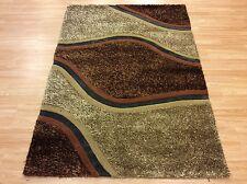 Leather Shaggy Rug Modern Brown Beige Heavy Good Quality 120x180cm 60 off