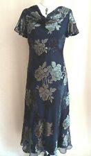 BNWT Stunning Jacques Vert blues/black/silver, Silk mix dress, size 10