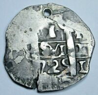 1725 M Rare Luis I Lima Spanish Silver 1 Reales Antique Louis I Pirate Cob Coin
