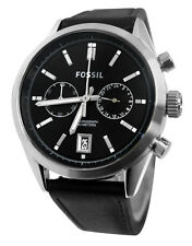 Fossil CH2972 Del Rey Chronograph Date Silver Steel Black Leather Watch New