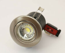 BRUSHED CHROME FIRE RATED  GU10 DOWN LIGHT WITH DIMMABLE  LED 5 WATTBULB £5.99