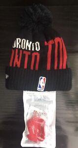 NBA NEW ERA TORONTO RAPTORS KNIT BEANIE + FREE EARPHONE JELLY CASE-NEW W/TAGS