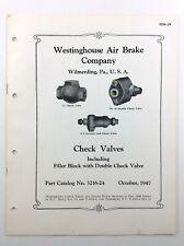 Westinghouse Air Brake Company Check Valves Filler Block 1947 Part Catalog Q538