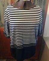Women's 3XL Karen Scott Boat Neck Light Blue Stripe Cotton Blend Top New