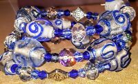 Handmade memory wire bracelet with blue glass And accent beads. FREE SHIPPING