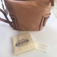 Fossil Emerson Small Hobo Shell Pink Leather Shoulder Handbag + Logo Key Tag #1