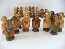 FARMER BUST~~Chess Pieces**Carved Wood**Hand Painted**