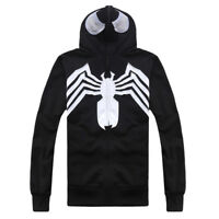 Marvel Venom Black Spiderman Spider-man Men Women Hoodie Full Zip Sweater Jacket