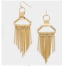 """3.75"""" Long Drop Gold Fringe Metal Urban Pageant Chandelier Wedding Earrings"""