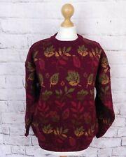 Vintage burgundy multicoloured pure wool leaf leaves boho jumper sweater L 18