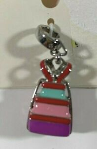 Fossil Brand Stainless Steel Enamel Stacked Gift Charm Bracelet Necklace Multi