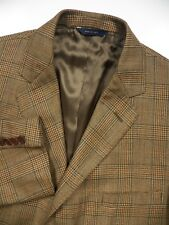 BROOKS BROTHERS MENS 54 44 L BLAZER JACKET WOOL GOLDEN BEIGE CHECK MADE IN ITALY