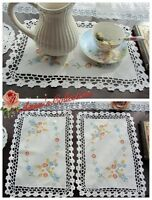 3Pcs~Beautiful Hand Crochet&Hand Embroidered Placemat/Doily~Cotton~Spring Color~