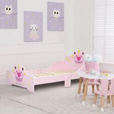 HOMCOM Kids Toddler Bed Princess Crown Furniture 3-6 Yrs Pink 143 x 73 x 60 cm