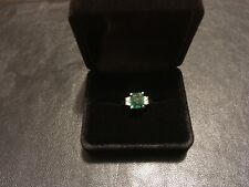 1.82Ct Natural Emerald & Diamond 14K Solid White Gold Ring Excellent!!