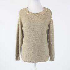 Beige cotton blend ELLEN TRACY 3/4 sleeve scoop neck ribbed trim sweater XS