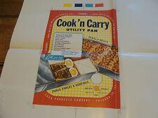 Vintage Printing Sample Poster: EKCO PRODUCTS OVENEX COOK 'N CARRY PAN 20x24