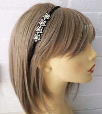 Gorgeous 6mm wide black & AB diamante motif headband - aliceband