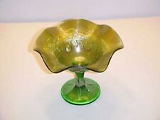 Northwood Carnival Glass Signed Green Raspberry Footed Compote