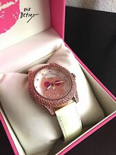 Betsey Johnson Watch Rose Gold Toned Pink Rhinestone Owl Watch IOB Runs