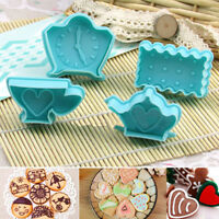 4Pcs Heart Biscuit Cookies Plunger Cutter Mold Fondant Cake Mould DIY Baking