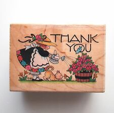 Mary Engelbreit WATERING THE ROSES ThankYou Rubber Stamp All Night #581H