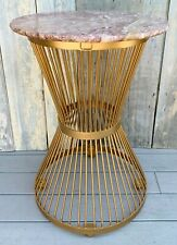 Vintage Warren Platner Knoll Style Rouge Marble Gilt Metal Wire Hourglass Table