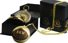 Personalised Engraved Brass Compass with Chain FREE ENGRAVING Luxury Gift Case