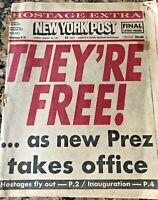 New York Post News Jan 20th 1981 Headline-They're Free! Iran Hostages Released!
