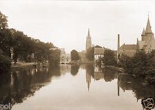 Tirage photo ancienne XIXe Ville de Bruges Brugge Canaux