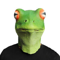 Realistic Frog Latex Animal Head Mask Halloween Cosplay Costume for Adults Party