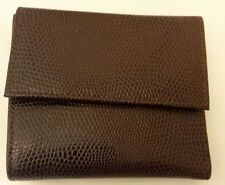 CLEO & PATEK Paris Brown Pebble Leather Clutch Small Wallet Organizer Trifold