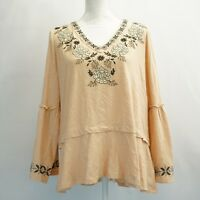 Style & Co Plus Size Womens Top Embroidered Bell Sleeve Knit Shirt Blush 1X $56