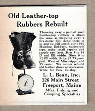 1960 Print Ad L.L. Bean Old Leather Top Rubber Boots Rebuilt Freeport,Maine