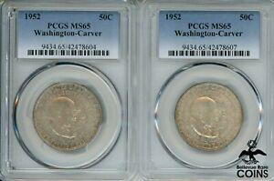 Lot of 2: 1952 USA 50c Washington & Carver Silver Half Dollar Coins  PCGS MS65