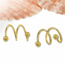 1 Pair Gold Punk Style Spiral Ear Cuff Clip Wrap Cartilage Earrings Jewelry