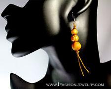Circle Bead Drop Dangle Earrings Jewelry Boho Natural Handmade Wooden Wood Round