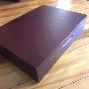 Wooden Silverware Chest Flatware Storage Box Great Shape!