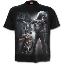 Spiral Gothic T-Shirt Schwarz - Night Church Biker Mond Skelett Motorrad