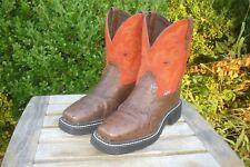 Women's 6 B M Justin Gypsy Brown Ostrich Print & Orange Cowboy Boots L9967