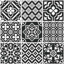 Traditional Tile Stickers Vintage Transfers Kitchen Bathroom Black and White- T2