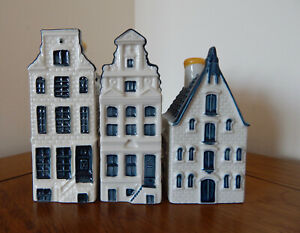 KLM Blue Delft Style Miniature Houses : Nr's 68-69-70 (See Pictures)