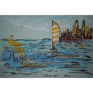 Original Modern Pastel Landscape Chicago Blue River City Gallery Artist Anya