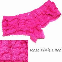 NEW Womens Ruffle Panties Sexy Dance Boyshort Underwear Mesh Rose & Pink Lace