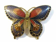 Vintage Cloisonne Butterfly Brooch Pin ~ Purple & Rose Enamel
