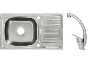 Design Inox Évier Encastré Evier de Cuisine Küchen Robinet Set 76cm x 43,5cm