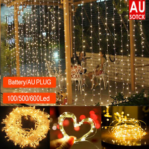 100 - 600 Led Curtain Fairy Lights Wedding Indoor Outdoor Christmas Garden Party